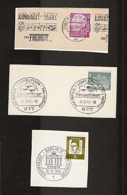Germany 1955 Stamps on Pieces BERLIN BRANDENBURGER GATE