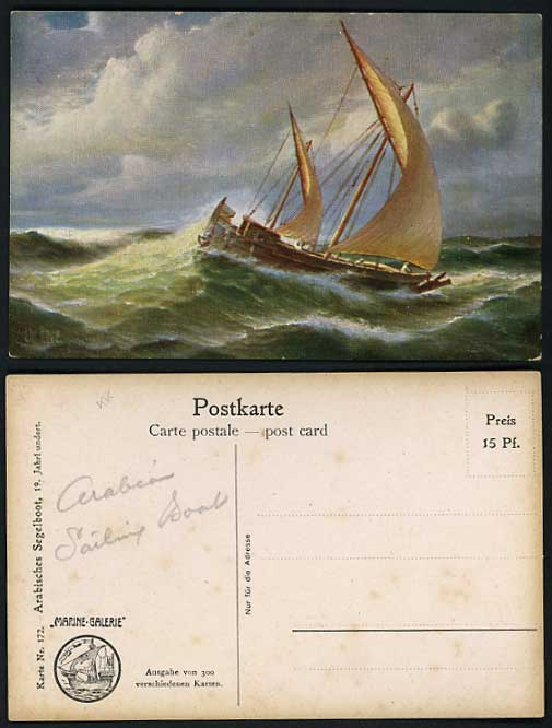 Germany Old Postcard ARABIAN SAILING BOAT in rough sea