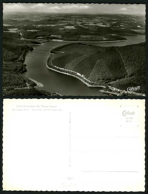 Germany Old PPC Aerial View RIVER & DAM Versetalsperre