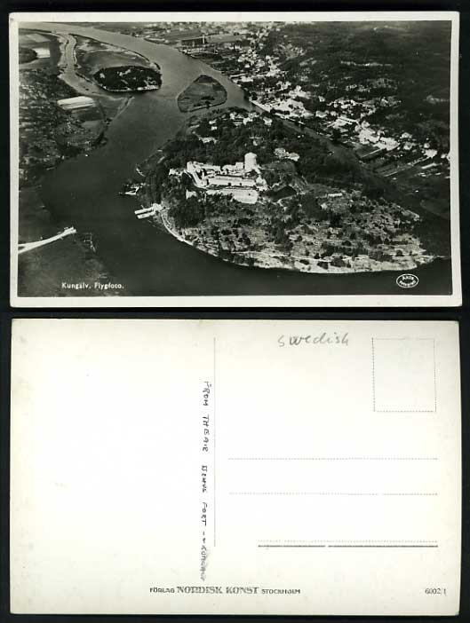 Sweden Old Real Photo Postcard Fort KUNGALV Aerial View