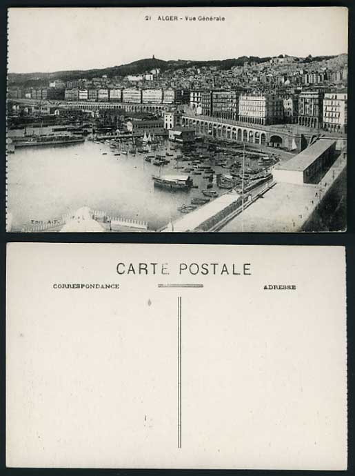 Algeria Old Postcard ALGIERS General View HARBOUR BOATS