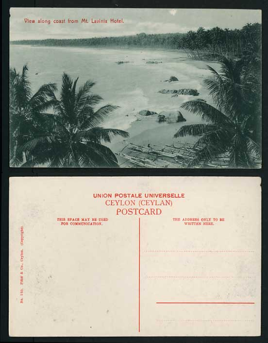 Ceylon Old Postcard COAST Boats from MT. LAVINIA HOTEL