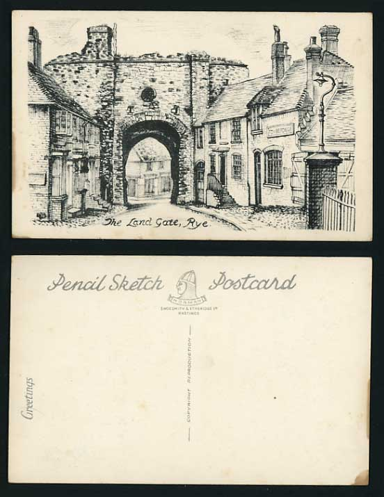 Sussex Old Postcard Pencil Sketch - The Land Gate RYE