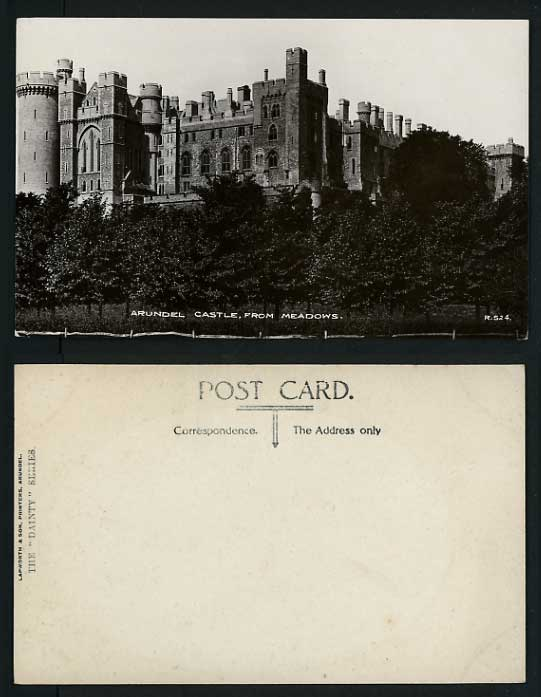 Sussex DAINTY Old Postcard Arundel Castle from Meadows