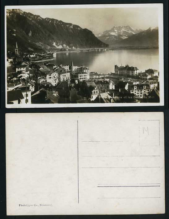 Switzerland Old Photo Postcard MONTREUX Panoramic View