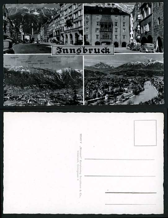 Austria Old B/W Multiview Real Photo Postcard INNSBRUCK
