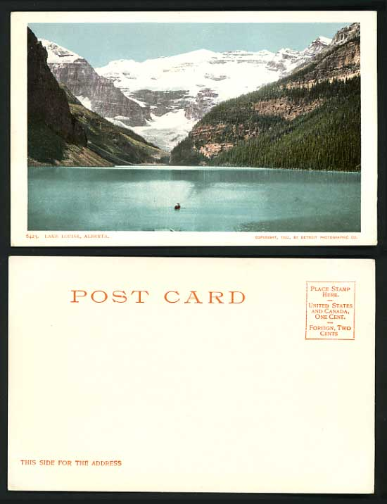 Canada 1902 Old Postcard Mountains & Lake Louis Alberta