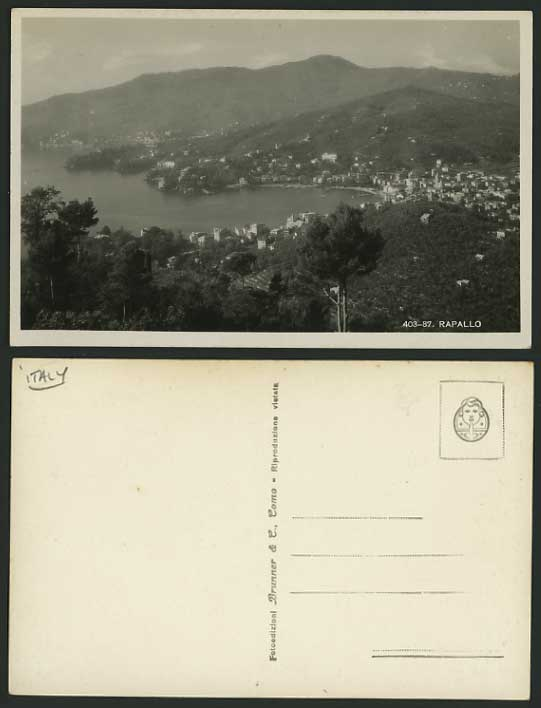 Italy Old Real Photo Postcard RAPALLO Aerial View Mount