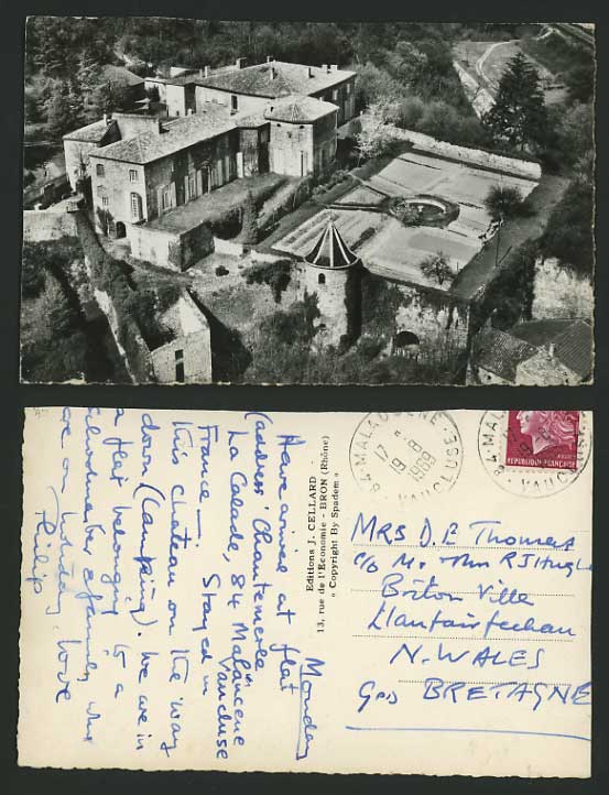 France 1969 Real Photo Postcard Aerial View of House