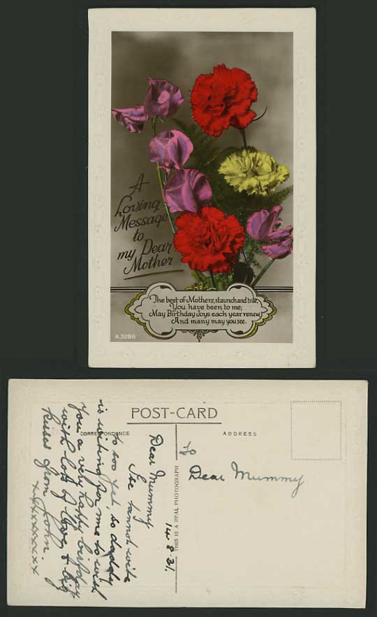 1931 Postcard Loving Message to my dear Mother Flowers