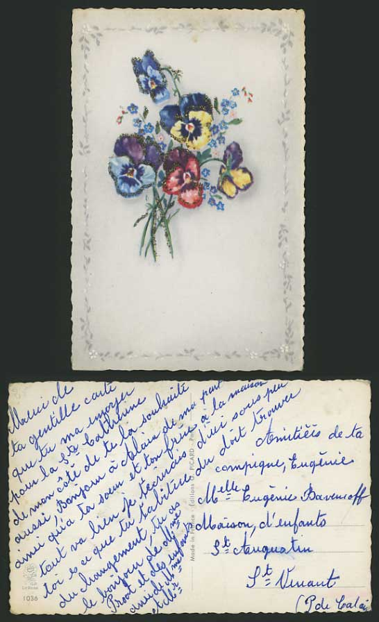 Early Postcard Greetings FLOWERS with Glittering Powder