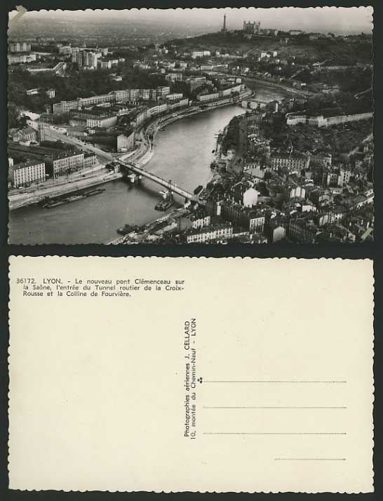 France Real Photo Postcard LYON Aerial View Boat Bridge