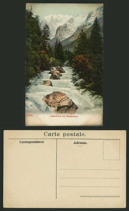 Switzerland Old Postcard RIVER - WETTERHORN Luetschine