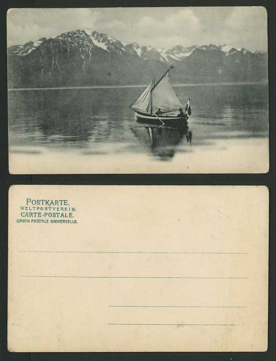 Switzerland Old Postcard SAILING BOAT Mountains Lake