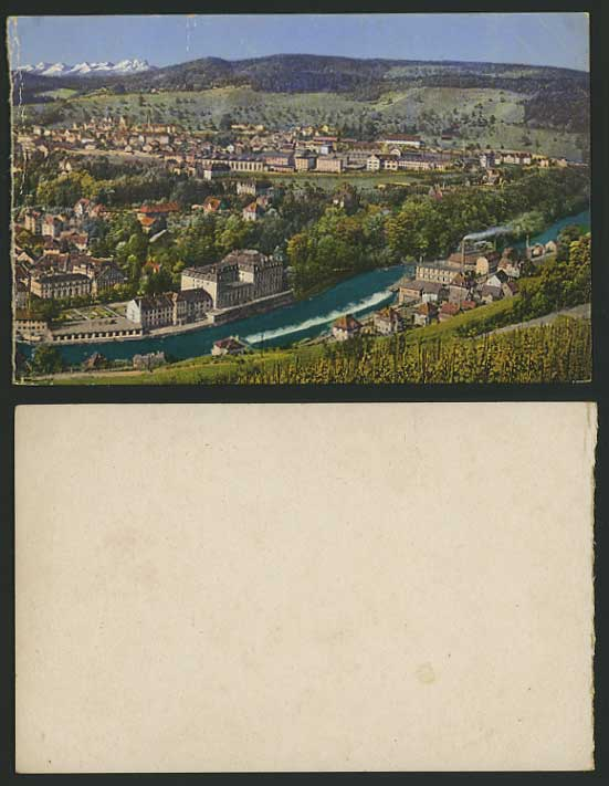 Switzerland Old Color Card RIVER MOUNTAINS General View