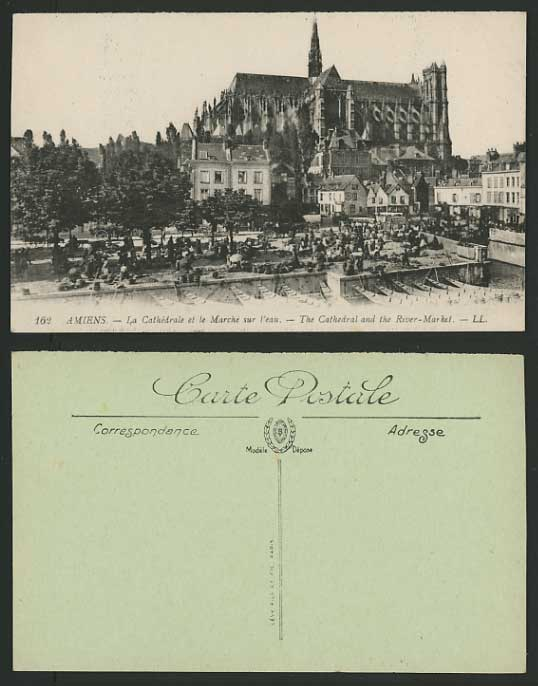 AMIENS Old L.L. Postcard Cathedral Fish Market Fishery