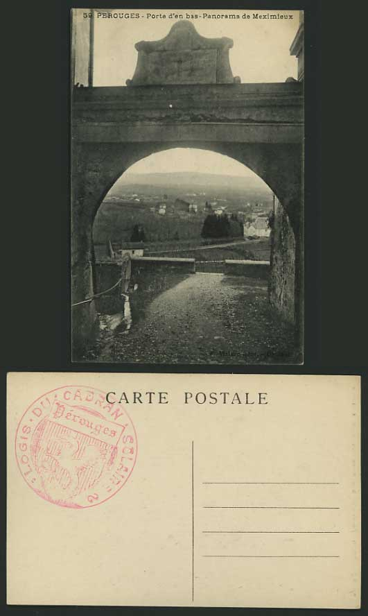 France Ain Old B/W Postcard PEROUGES Panorama Meximieux
