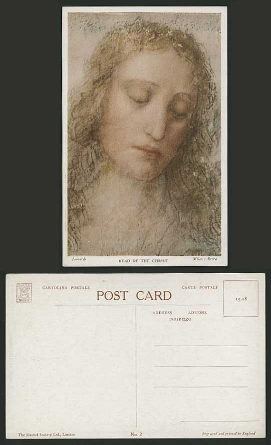Leonardo HEAD OF CHRIST Milan Italy Old Colour Postcard