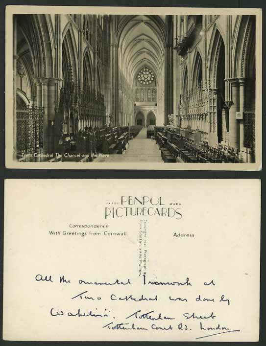 Cornwall Old RP Postcard TRURO CATHEDRAL Chancel, Nave