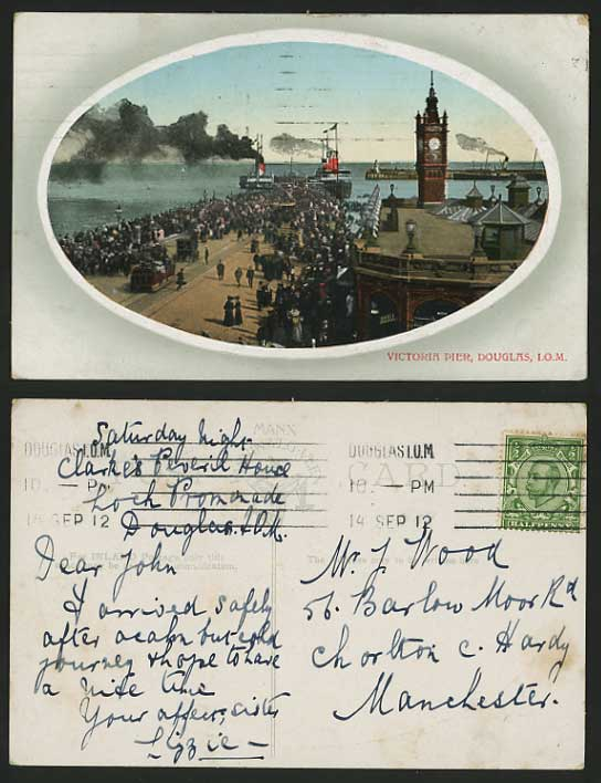 Isle of Man 1912 Old Postcard DOUGLAS Victoria Pier