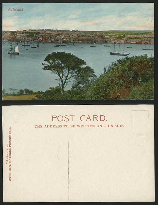 Cornwall FALMOUTH 1900 Old Colour Postcard Harbour Boat