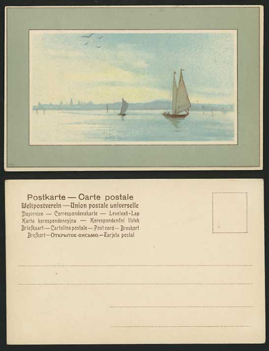 SHIPPING Old Artist Drawn Colour Postcard SAILING BOATS