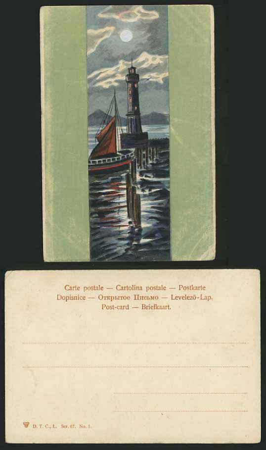 SHIPPING Old Moonlight Postcard SAILING BOAT LIGHTHOUSE