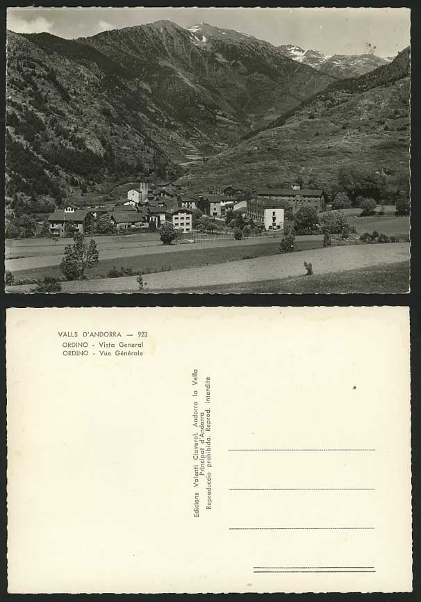 Andorra c.1950 Old Real Photo Postcard ORDINO Valls D'Andorra Vista General View