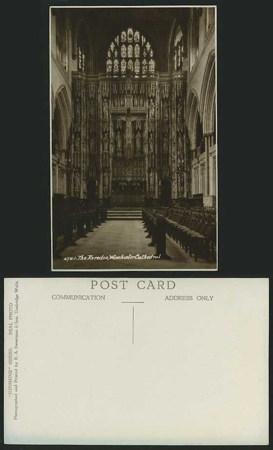 Hampshire Old RP Postcard WINCHESTER CATHEDRAL Reredos