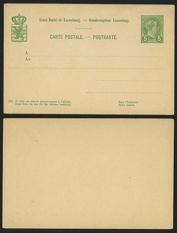 LUXEMBOURG Old Stationery Card 5c Green Grossherzogthum