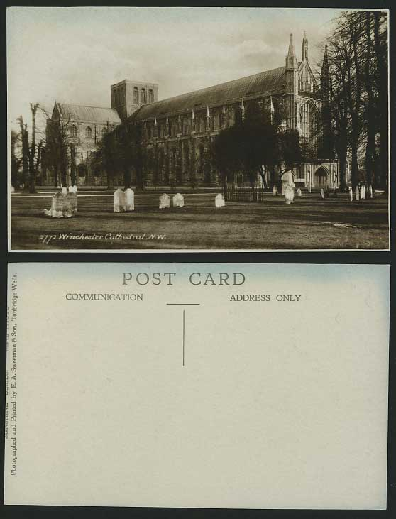 Hampshire Old Real Photo Postcard WINCHESTER CATHEDRAL