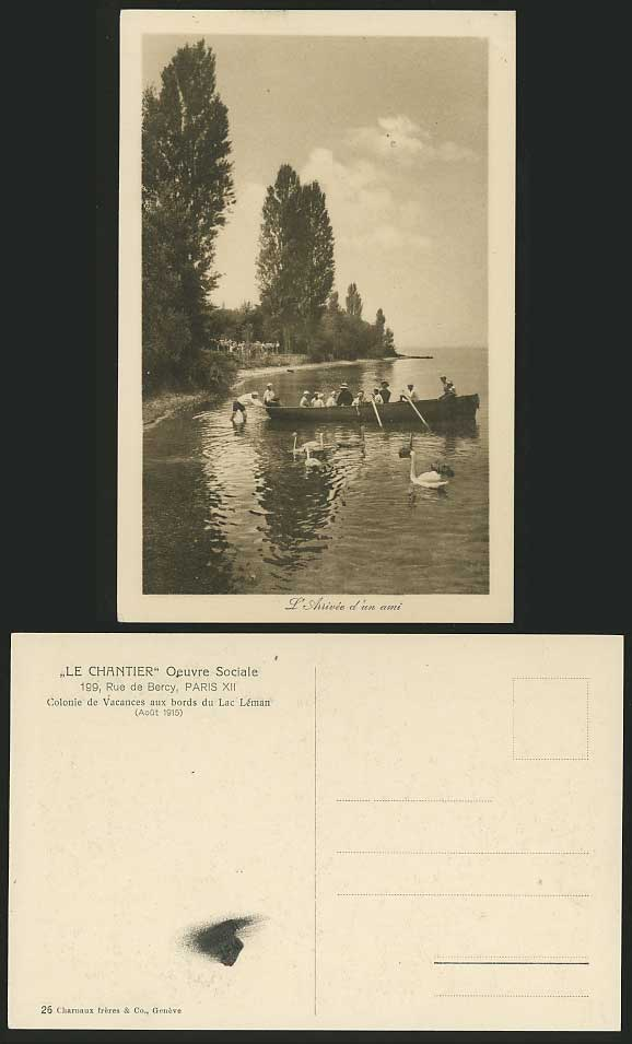 BOY SCOUTS Boating / Birds Swans 1915 Old Postcard BOAT