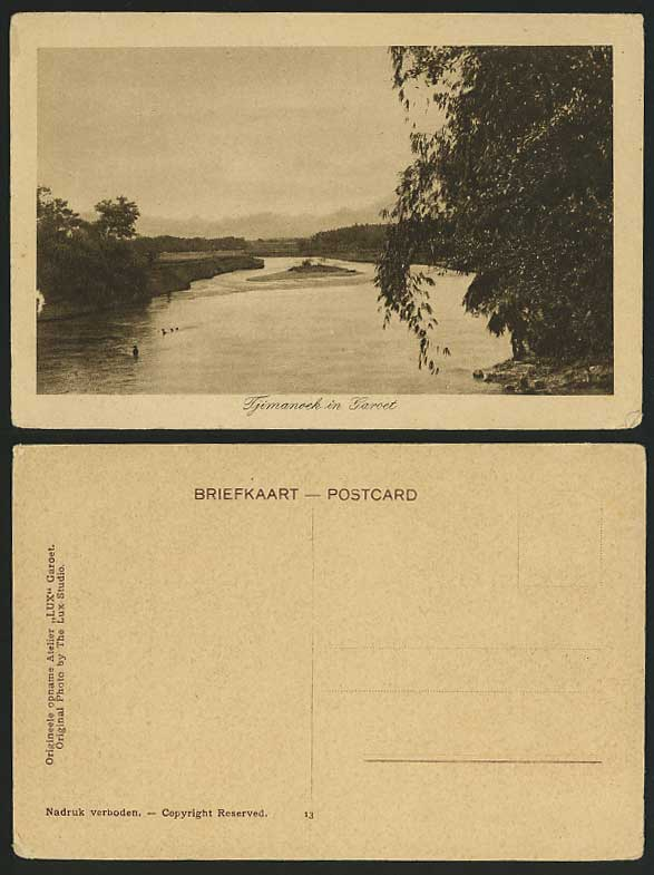 GAROET West Java Tjimanoek River Scene Old Postcard Dutch East Indies D.E.I.