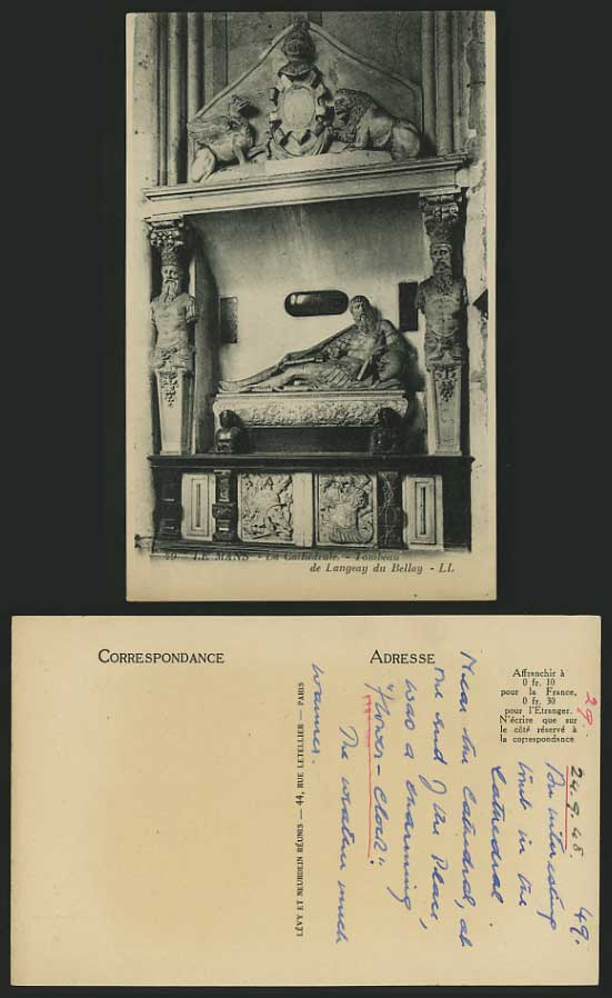 LE MANS Church TOMB 1949 Old Postcard Langeay du Bellay