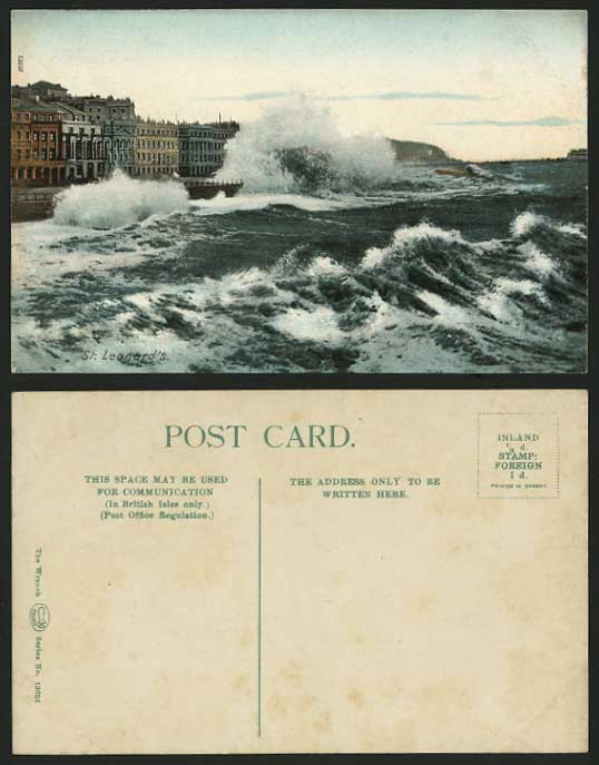 ST. LEONARDS-ON-SEA Old Postcard St Leonard's Rough Sea