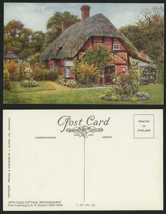 A.R. Quinton Old Postcard BROCKENHURST Arts Guild Cottage Thatched House