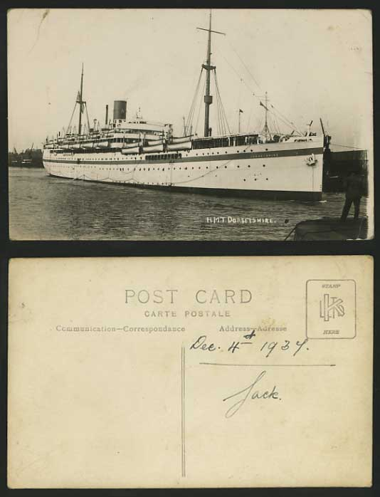 H.M.T. Dorsetshire Warship SHIP 1934 Old R.P. Postcard