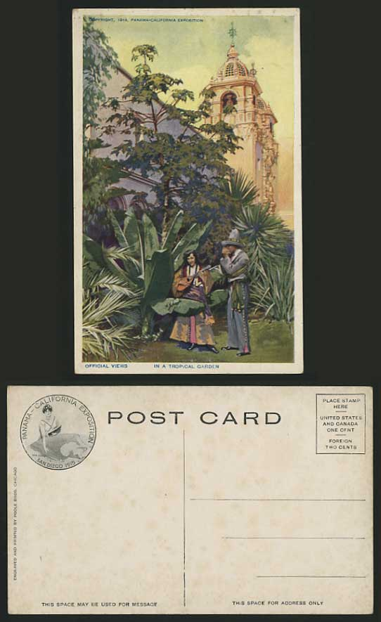 Panama EXHIBITION 1914 Old Postcard In Tropical Garden