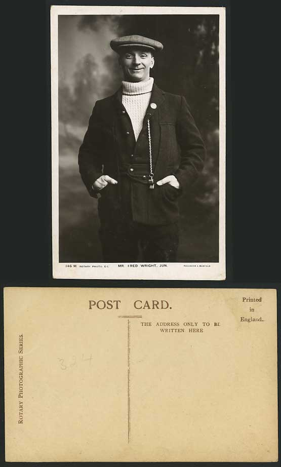 Actor Mr FRED WRIGHT JUN with Whistle Old R.P. Postcard