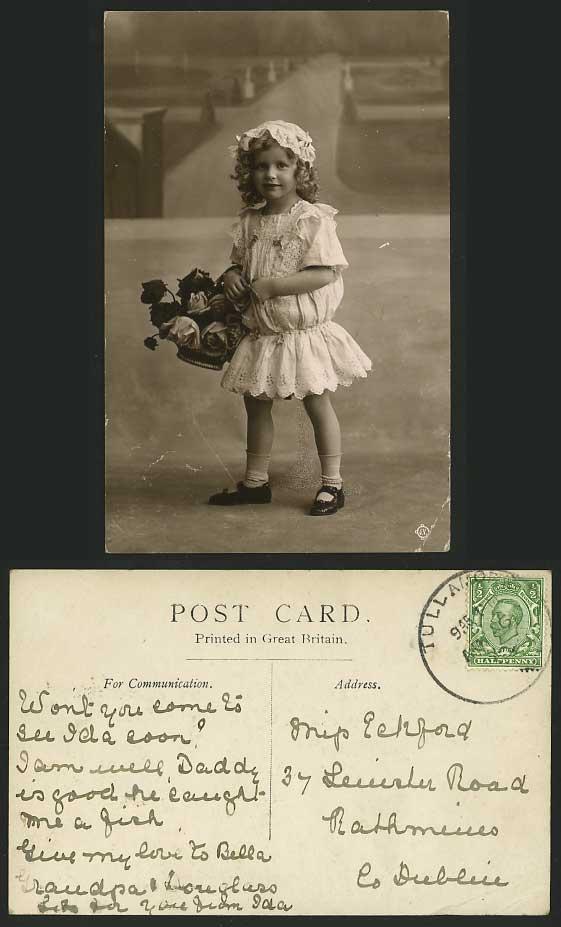 Flower Girl Baskets Dublin : Cute little girl flower basket old r p postcard