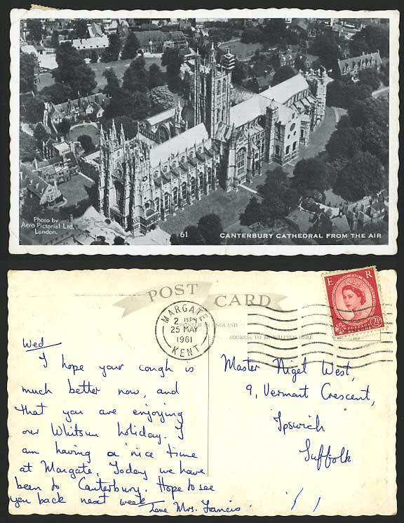 CANTERBURY CATHEDRAL Aerial View from AIR 1961 Postcard