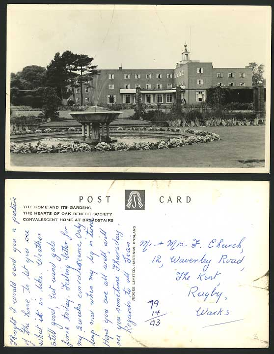 Broadstairs Old RP Postcard Convalescent Home & Gardens