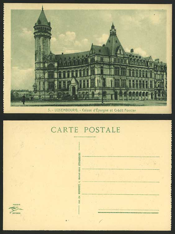 luxembourg old postcard caisse d 39 epargne credit foncier. Black Bedroom Furniture Sets. Home Design Ideas