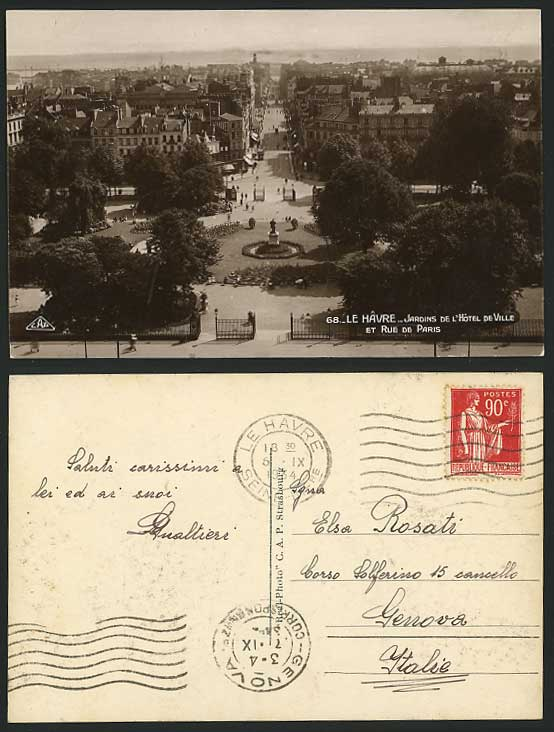 France LE HAVRE 1934 Old Postcard Town Hall Gardens & Paris Street Scene