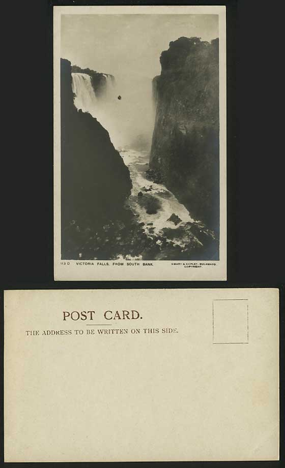 Rhodesia Old RP Postcard VICTORIA FALLS from SOUTH BANK