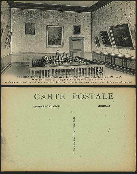 Chateau de chambord old postcard salle manger louis xiv for Salle a manger louis xiii