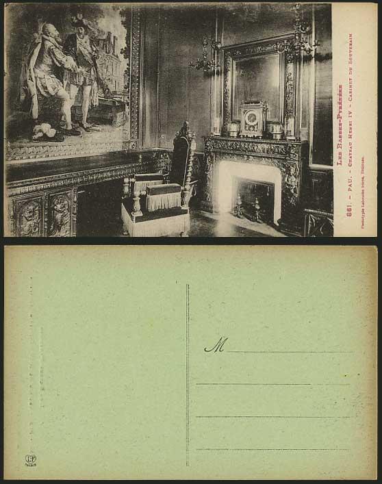 pau postcard chateau henri iv cabinet du souverain for sale