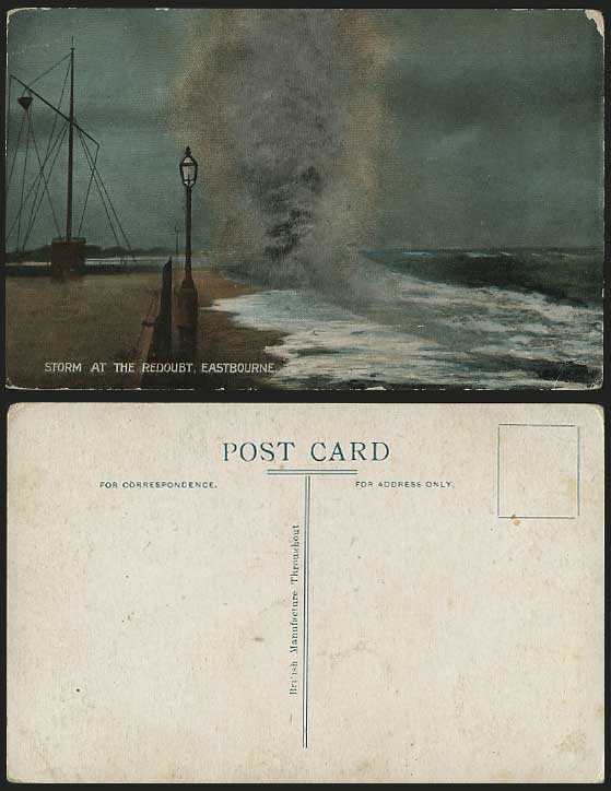 STORM at The REDOUBT Eastbourne Old Postcard ROUGH SEA