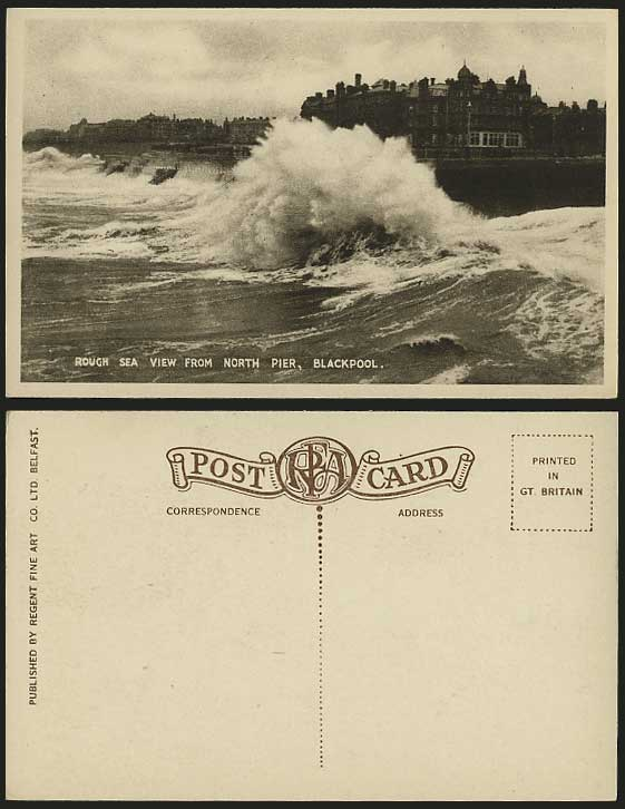 Blackpool - ROUGH SEA view from NORTH PIER Old Postcard