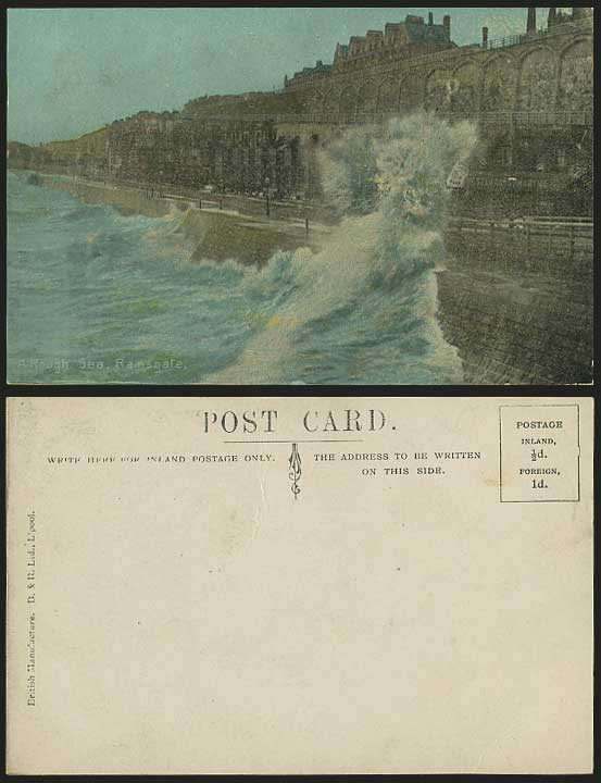Ramsgate ROUGH SEA Cliffs Promenade Old Colour Postcard